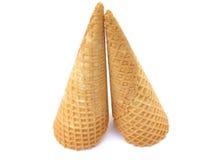 Ice cream cones. On white background stock images