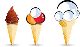 Ice cream cones. Three ice cream cone illustrations Royalty Free Stock Image