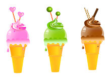 Ice cream cones. Illustration of  ice cream bars Royalty Free Stock Images