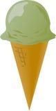 Ice cream cones. Ice cream cone illustration, pistachio single scoop Royalty Free Stock Photography