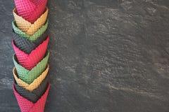 Ice cream cones in assorted colors Stock Photos