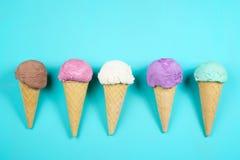 Ice cream cones background, copy space stock photo