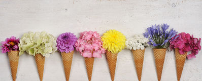 Ice cream cones with beautiful flowers Royalty Free Stock Image