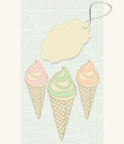 Ice cream cones with blank tag Stock Image