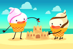Ice cream cones building sand castle on the beach Royalty Free Stock Image