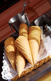 Ice cream cones on a cart Royalty Free Stock Photography