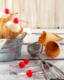 Ice cream cones with cherry Royalty Free Stock Photos