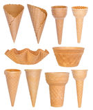 Ice cream cones collection isolated on white Royalty Free Stock Image