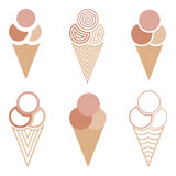 Ice cream- cones. Ice creams - cones collection  illustration Royalty Free Stock Photos