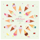 Ice cream cones festive summer background with place for text. Paper cut out stickers. Vector EPS10 Stock Photography