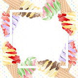 Ice cream cones on frame Stock Photo