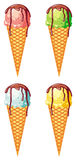 Ice cream cones isolated on a white background. Raster clip art Royalty Free Stock Photos