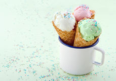 Ice cream cones in an old mug Royalty Free Stock Image