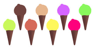 8 Ice Cream Cones Stock Photos