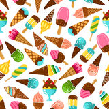 Ice cream cones, popsicles and sundae pattern. Ice cream desserts seamless pattern of vanilla and caramel, mint, pistachio and fruity flavored ice cream scoops Stock Photography