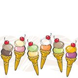 Ice cream in cones with red cherry horizontal abck Stock Photo
