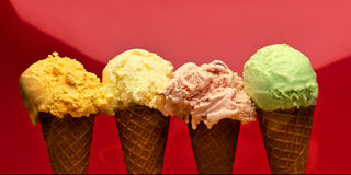 Ice cream cones in a row Stock Image