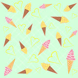 Ice - cream cones seamless background pattern. Lovely ice - cream cones seamless background pattern. Vector Stock Images
