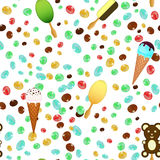 Ice cream cones seamless pattern background with candies and chocolate Stock Photos