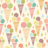 Ice cream cones seamless pattern background Stock Images