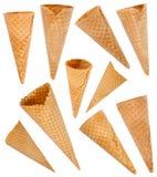 Ice cream cones set. Isolated on white background stock photo