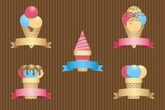 Ice cream cones and ribbon banner. Ice cream cones set and ribbon banner. Vector illustration EPS10 Royalty Free Stock Image