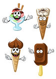 Ice cream cones, stick and sundae Stock Photo