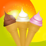 Ice cream cones on swirl background Stock Image