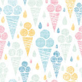 Ice cream cones textile colorful seamless pattern Stock Image