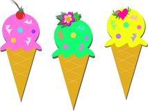Ice Cream Cones Trio Royalty Free Stock Photo