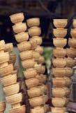 Ice- cream cones. Waffle cones in an ice-cream shop,  Italy Royalty Free Stock Image