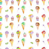 Ice cream and confection pattern on a white background Stock Image