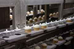 Ice cream on a conveyor belt royalty free stock photo
