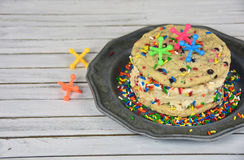 Ice cream cookie sandwich with toy jacks Stock Photo