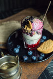 Ice cream with cookies and berries. Dessert. The restaurant or cafe atmosphere. Vintage Royalty Free Stock Photos