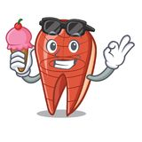 With ice cream cool fish slice character cartoon. Vector illustration Royalty Free Stock Photos