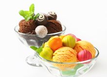 Ice cream coupes with chocolate truffles and pralines Stock Image