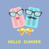 Ice cream couple with lips, mustaches, eyeglasses and bow in the circle. Hello summer greeting card. Flat design Violet background Stock Image