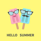 Ice cream couple with lips, mustaches and eyeglasses. Hello summer greeting card. Stock Photography