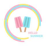 Ice cream couple set in the circle. Hello summer greeting card. Flat design Royalty Free Stock Photography