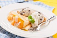 Ice cream crepe Stock Photos