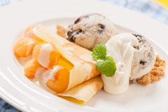 Ice cream crepe Royalty Free Stock Images