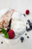 Ice cream cup with fresh fruit Stock Image