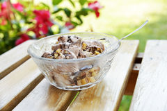 Ice-cream. A cup of ice-cream on an outdoor wooden table Stock Images