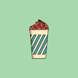 Ice cream in cup with sprinkling. Cute cartoon berry icecream in cup with candy sprinkling. Sundae flat icon on green background. Minimal line style, modern Royalty Free Stock Photo