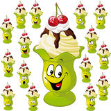Ice Cream Cup With Many Facial Expressions Stock Image