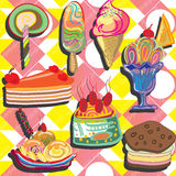 Ice cream and cupcake background Royalty Free Stock Images