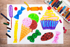 Ice cream, cupcake and sweets Royalty Free Stock Photography