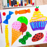 Ice cream, cupcake and sweets Royalty Free Stock Photos