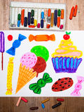 Ice cream, cupcake and sweets Stock Image